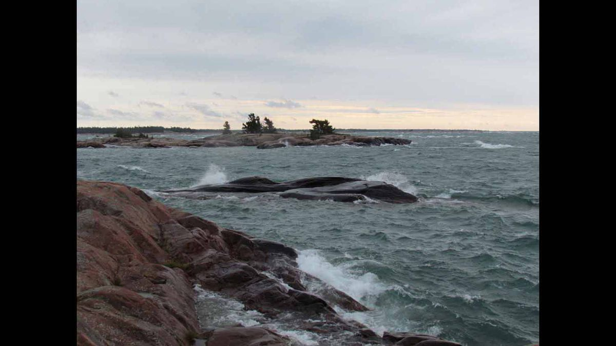 A windy day in September, 2011, that prevented us from leaving our island cottage in Northern Georgian Bay.