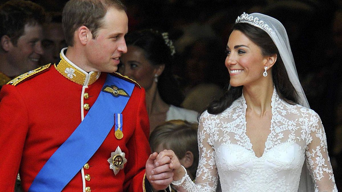 Britain's Prince William (L) and Catherine, Duchess of Cambridge, look at one another after their wedding ceremony in Westminster Abbey, in central London April 29, 2011.