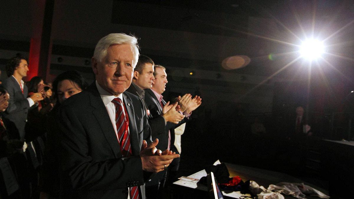 The interim Leader of the Liberal Part of Canada, Bob Rae applauds the end of the last session of the Liberal Biennial Convention in Ottawa on Jan. 15, 2012. Following this the Liberals announced their new party President as Mike Crawley.