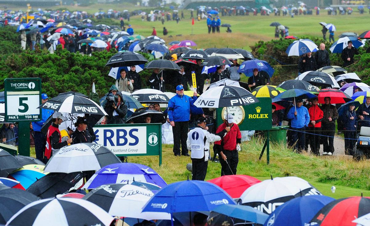 Umbrellas are the accessory of the day on Friday at the Old Course, St. Andrews