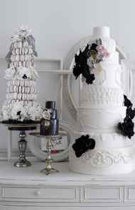 EMBRACING BLACK Often banned from weddings, black is turning up in more and more palettes, colouring everything from table linens to centrepieces and floral arrangements to bridesmaid dresses. Vera Wang even showed an inky goth wedding gown during Bridal Fashion Week in New York. Will black become the new chartreuse?