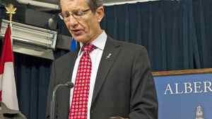 David Swann announces his decision to step down as Alberta Liberal Leader in Edmonton on Feb. 1, 2011.