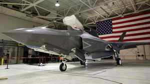 An F-35 Lightning II Joint Strike Fighter sits in a hangar at the U.S. Naval air station in Patuxent River, Md, on Jan. 20, 2012.