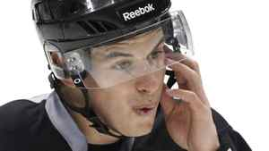 Pittsburgh Penguins' Sidney Crosby takes part in hockey practice in Pittsburgh, Wednesday, April 13, 2011. Followers of the game of hockey are known to rattle off statistics on goals scored and penalty minutes, but a new study of NHL concussions introduces a more sobering set of figures and charts to fans on the consequences when their hockey heroes. like Crosby, take hits to the head. THE CANADIAN PRESS/AP-Gene J. Puskar