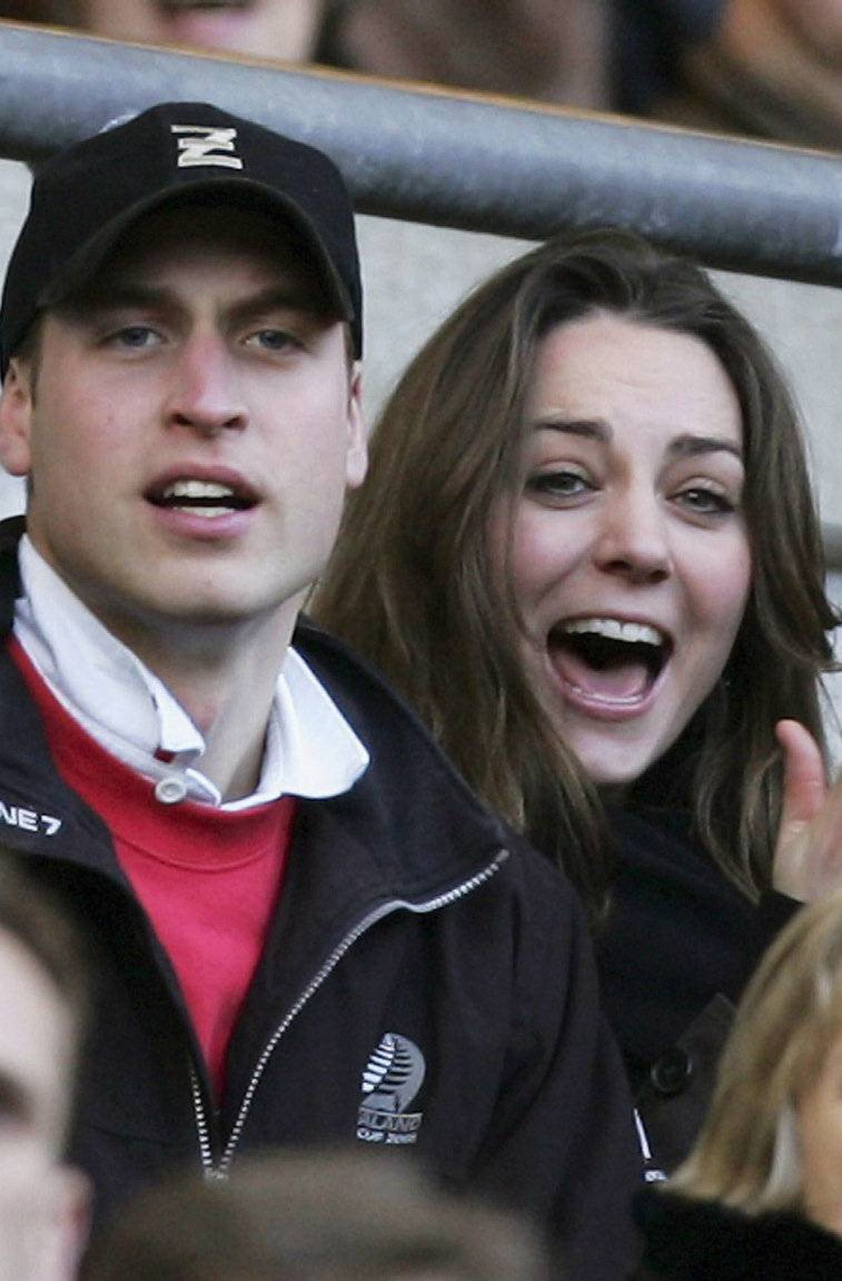 Prince William and Kate Middleton cheer on the English team during the RBS Six Nations Championship match between England and Italy at Twickenham on February 10, 2007 in London, England.