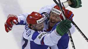 Russia's Alexander Radulov and Ilya Kovalchuk celebrate a second goal against Canada during their quarter-final match at the Ice Hockey World Championships in Bratislava