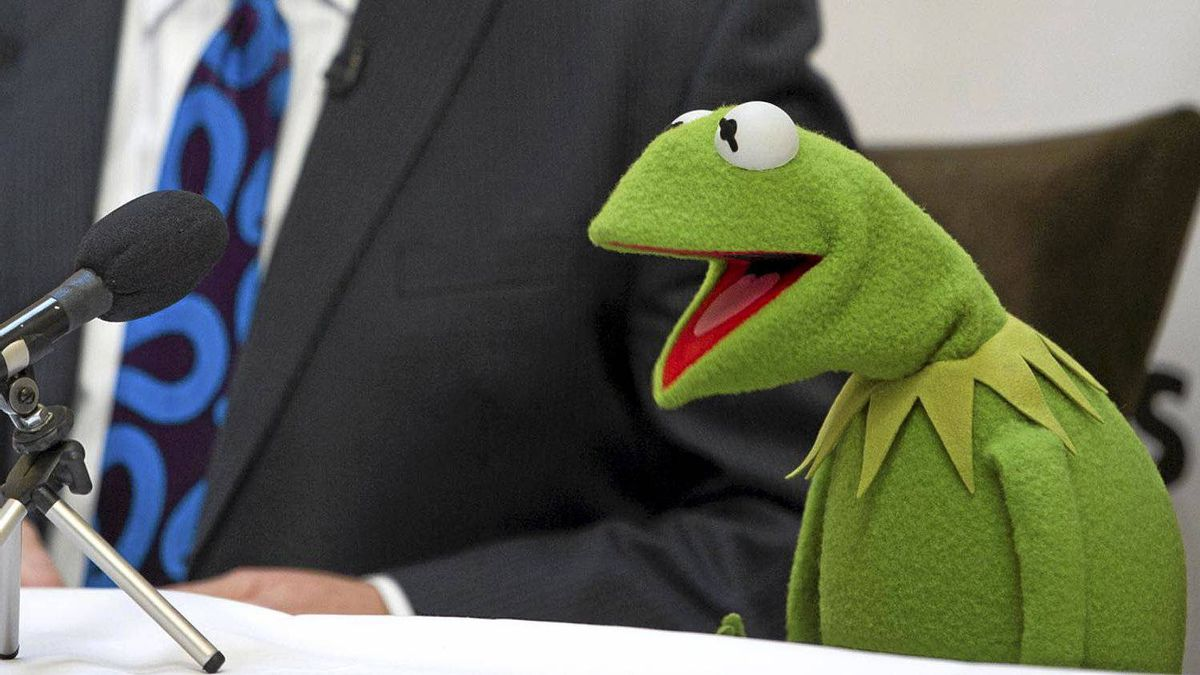 Kermit the Frog appears at a Toronto press conference, Oct. 25, 2011.