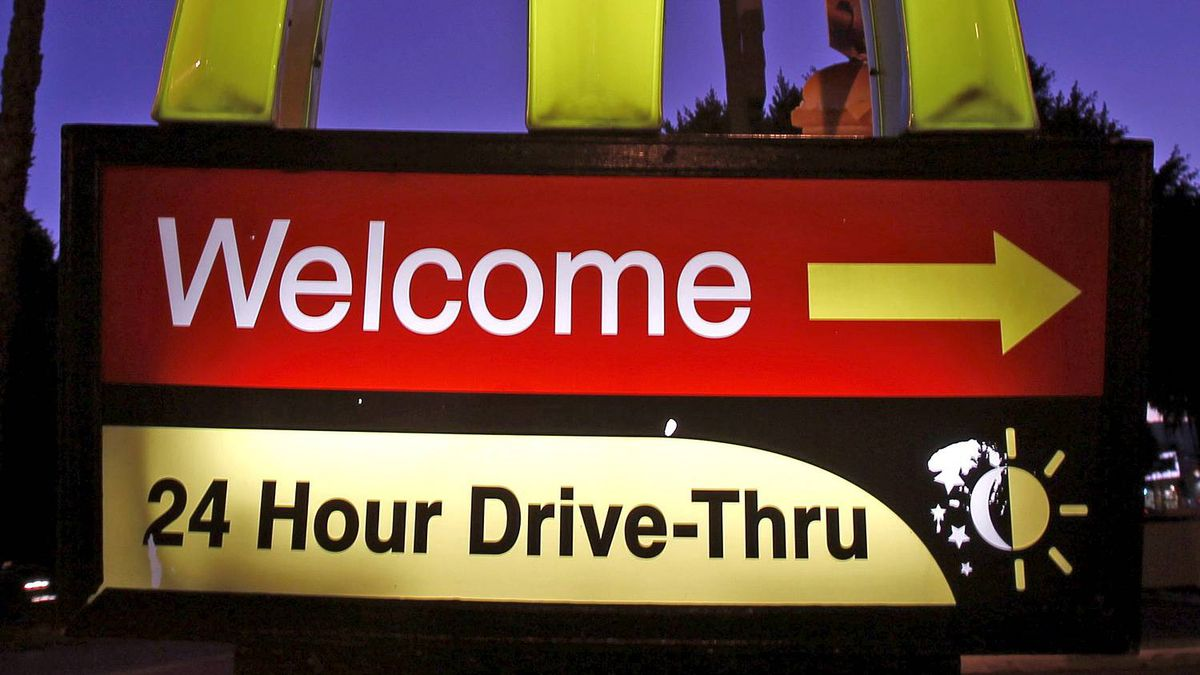 A McDonald's restaurant's drive-thru sign is pictured in Los Angeles