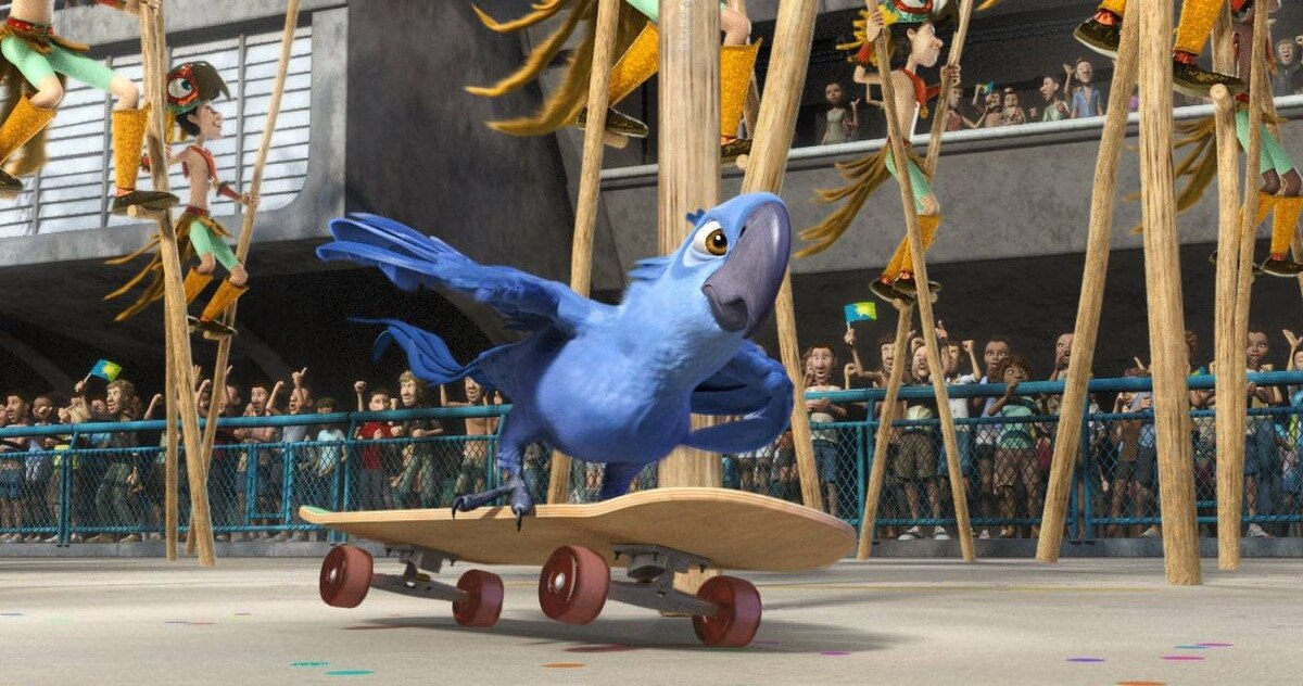 Blu skateboards to the rescue of his owner and best pal in a scene from the animated film Rio.