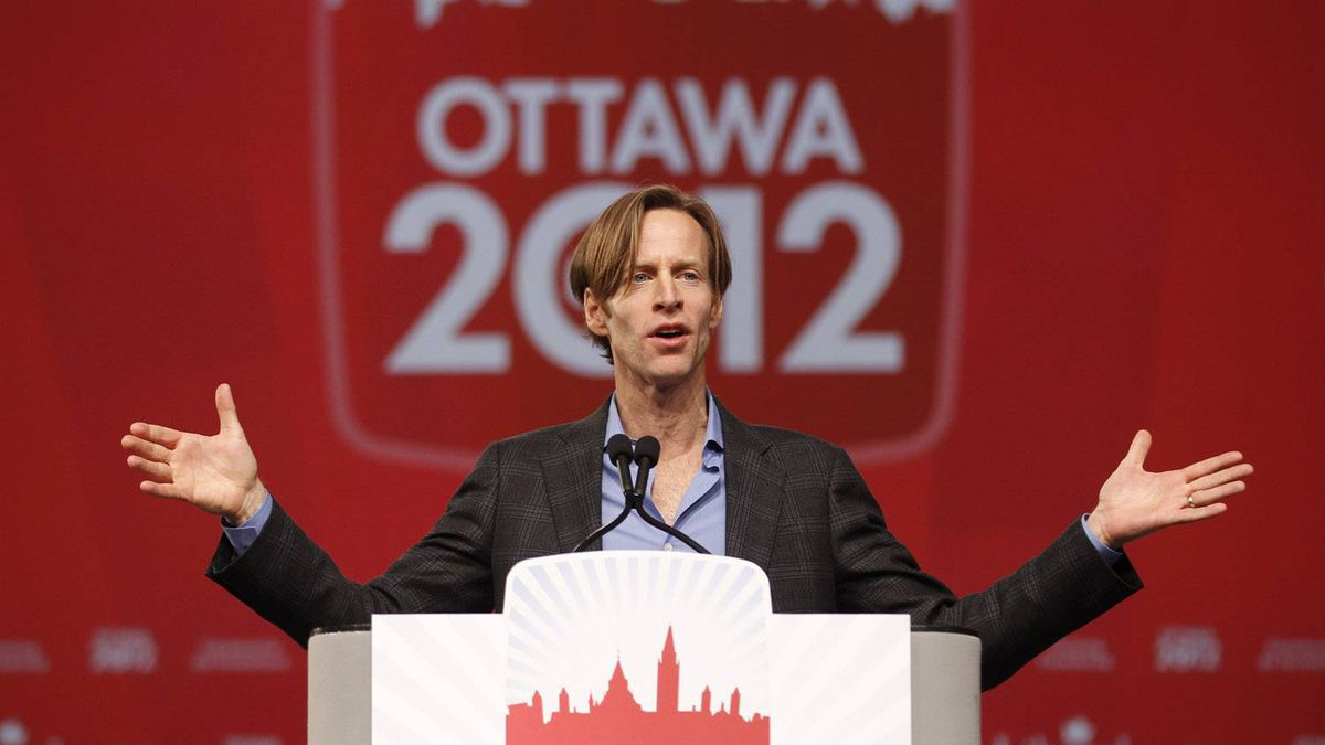 Mike Crawley speaks to the delegation after becoming the new President of the Liberal Party of Canada. On the final day of the Liberal Biennial Convention in Ottawa on Jan. 15, 2011 the Liberals announced their new party President, Mike Crawley, and the weekend conference wrapped up with a speech from interim party leader, Bob Rae.