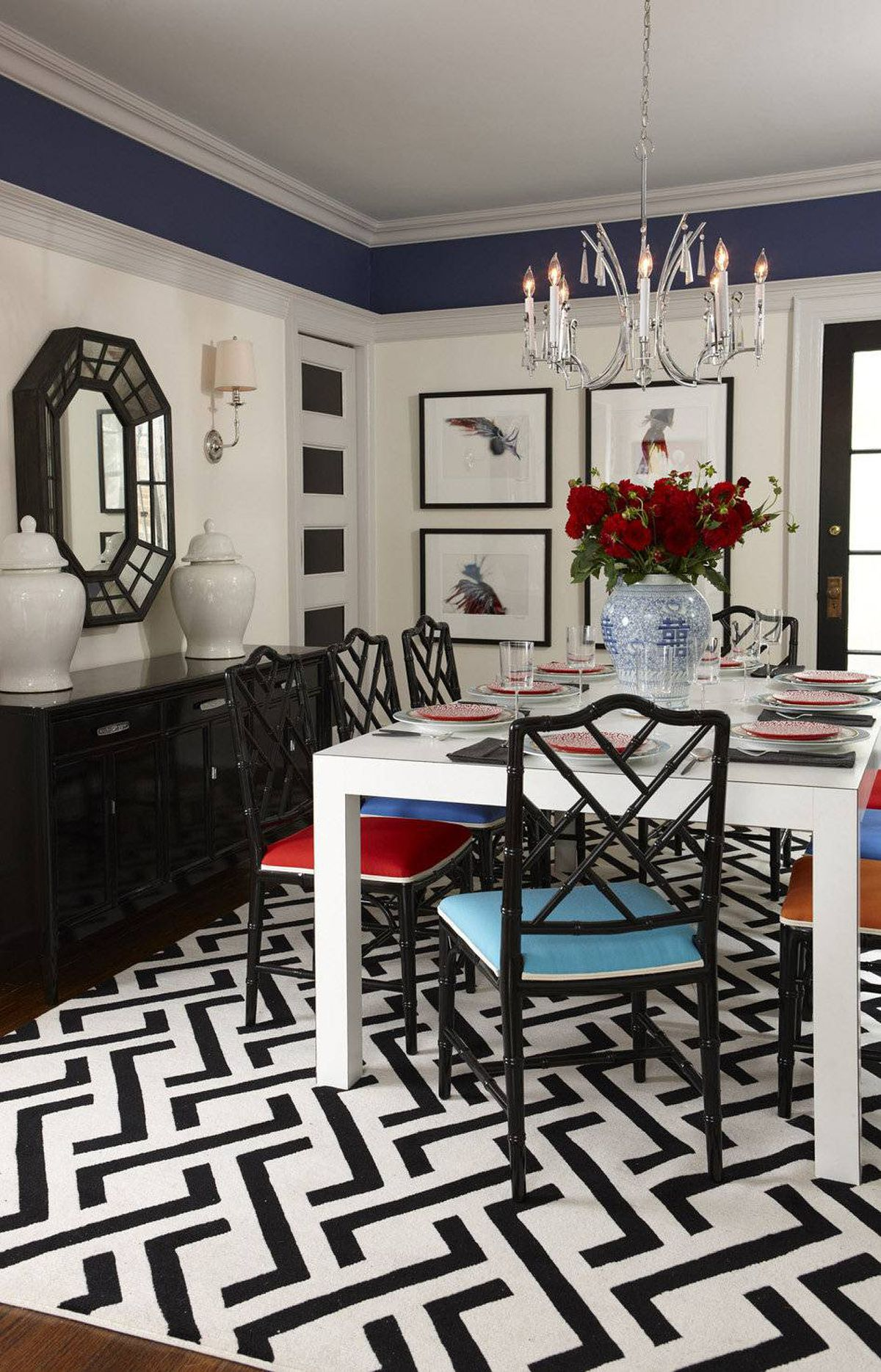 ADD A YOUTHFUL ENERGY Try painting the woodwork in a light, silvery tone, then turning colour theory upside down by going darker in the space above the plate rail. Expand the view by highlighting window frames and recessed door panels with black paint to pull the sightlines through the space.