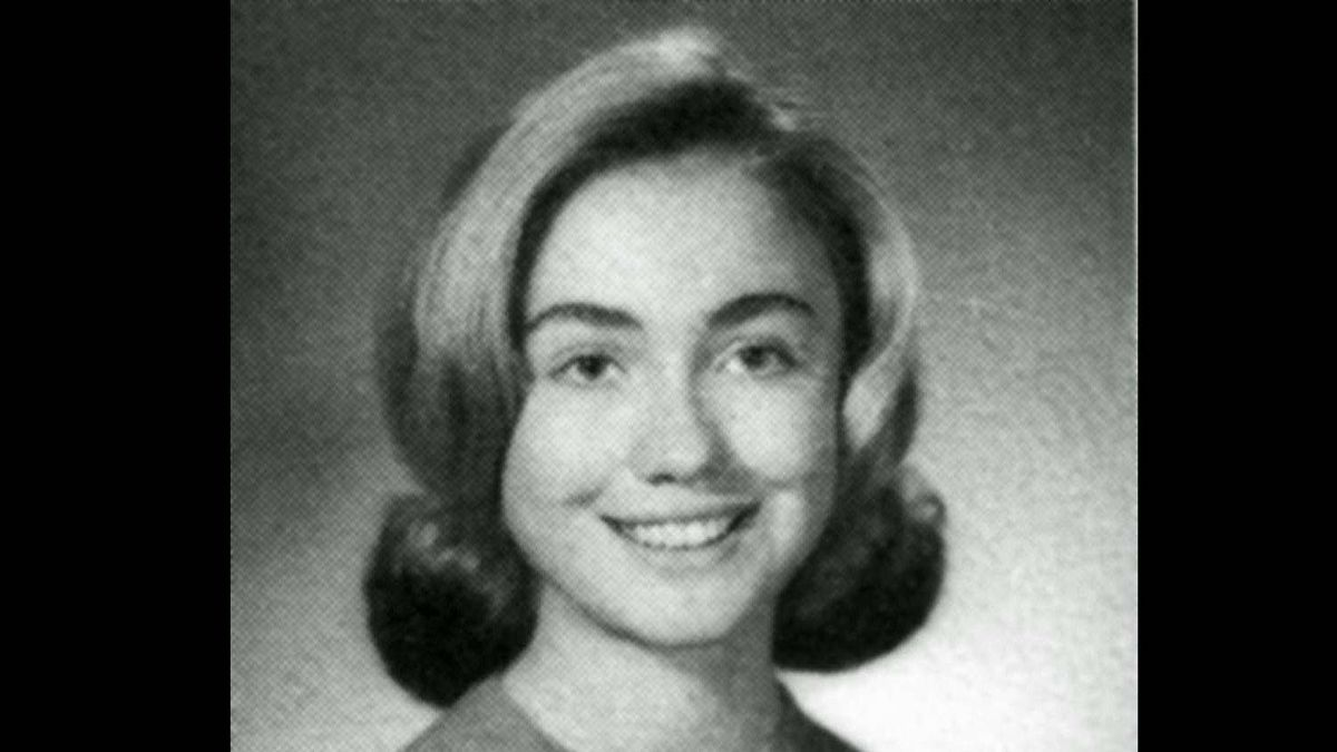In her 1965 senior class portrait, Hillary Rodham sports a soft, gently curled hairdo.