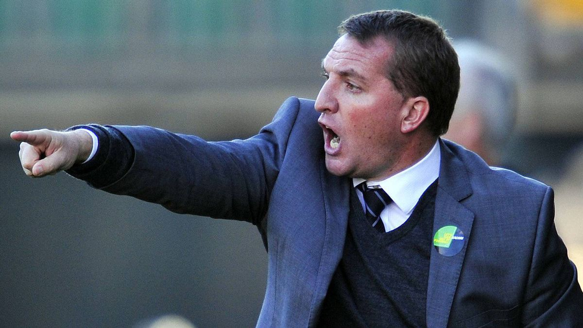 Swansea City's Northern Irish manager Brendan Rodgers gestures during the English Premier League football match between Wolverhampton Wanderers and Swansea City at Molineux Stadium in Wolverhampton, central England on October 22, 2011. The game finished 2-2.