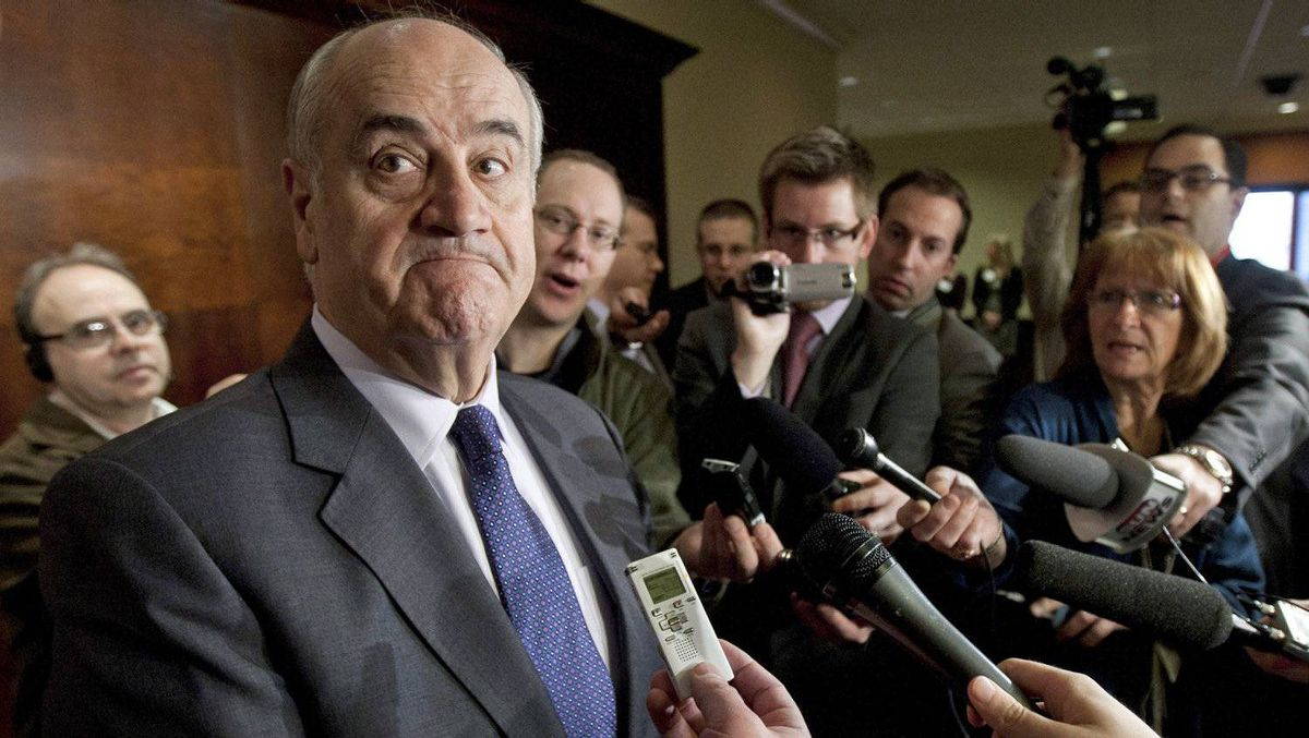 Associate Defence Minister Julian Fantino speaks to reporters after delivering a speech on the procurement of the F-35 Joint Strike Fighter in Ottawa, on March 16, 2012.