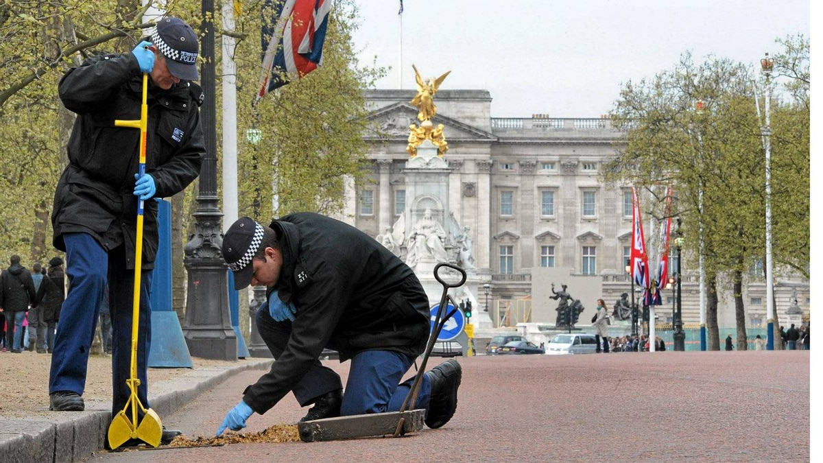 London police officers carry out security checks on drains and lamp posts along the Mall ahead of the April 29, 2011, Royal Wedding.