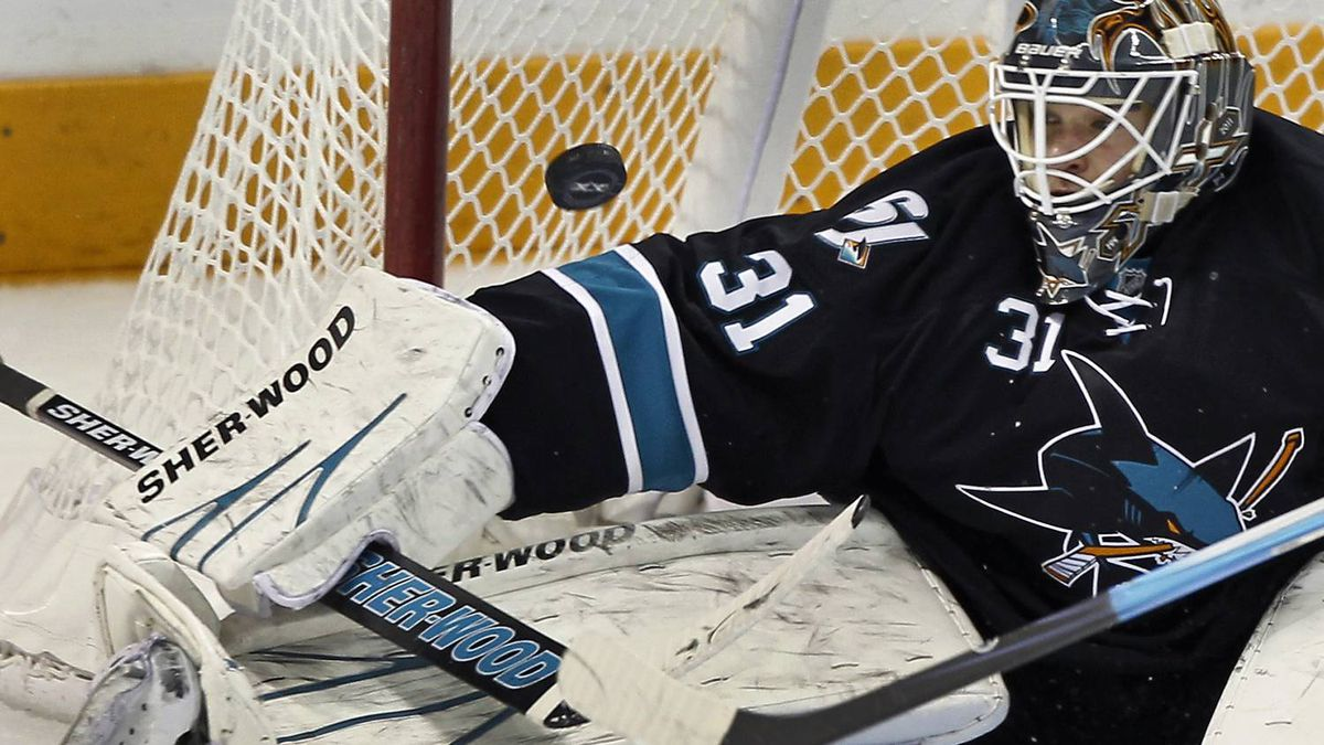 San Jose Sharks goalie Antti Niemi stops a shot during the second period. REUTERS/Mike Blake