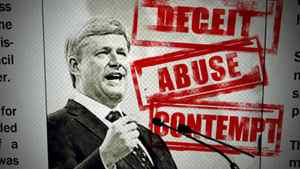 A frame from an anti-Harper attack ad released by the Liberals on March 16, 2011.