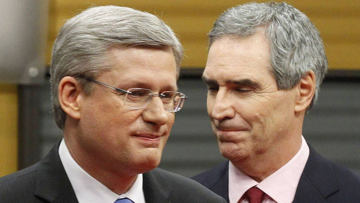 Conservative Party leader and Canadian Prime Minister Stephen Harper (L) and Liberal leader Michael Ignatieff leave after the French-language leaders' debate in Ottawa April 13, 2011. Canadians will head to the polls in a federal election on May 2.