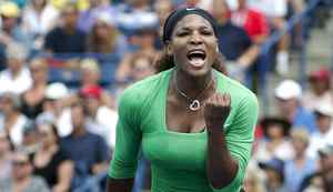 Serena Williams of the United States celebrates a point against Samantha Stosur of Australia during Rogers Cup Final at the Rexall Centre at York University in Toronto.