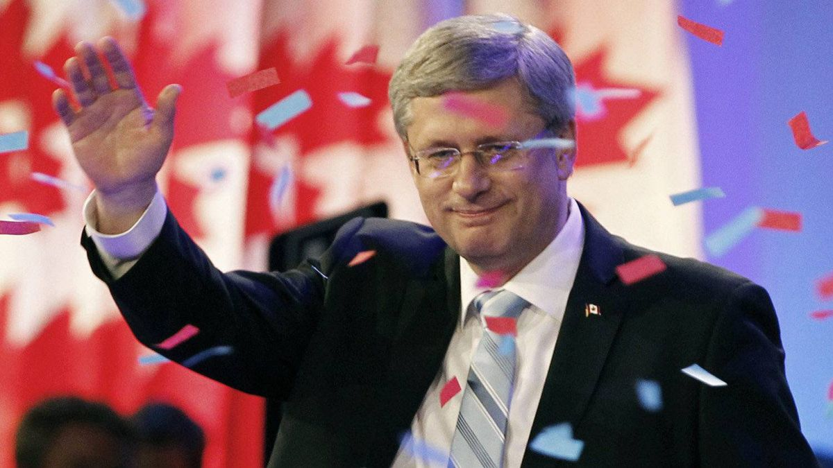 Conservative Party leader and Canadian Prime Minister Stephen Harper speaks to supporters at his federal election night headquarters in Calgary, Alberta, May 2, 2011.