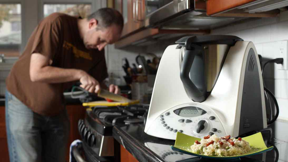 TORONTO, ONT.: FRIDAY, NOVEMBER 5, 2010 - The Thermomix, a larger device than the Magic Bullet but a far superior all-in-one appliance, is seen here at reporter Rob Mifsud's home Friday November 5, 2010. Risotto in foreground. (Photo by Tim Fraser for The Globe and Mail) (For Life story by Rob Mifsud)