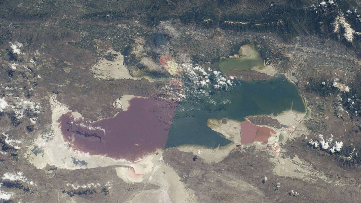 The Great Salt Lake in Utah serves as a striking visual marker for the STS-135 astronauts orbiting over North America in the space shuttle Atlantis Saturday July 9, 2011.