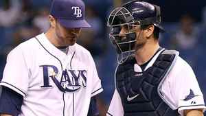 Tampa Bay Rays starting pitcher Wade Davis (left) talks with catcher John Jaso on the mound in the second inning against the Seattle Mariners at Tropicana Field. Right-hander Davis (8-7. 4.28 ERA) faces Blue Jays left-hander Ricky Romero (12-9, 2.78 ERA) in Monday's game at the Rogers Centre. Kim Klement-US PRESSWIRE