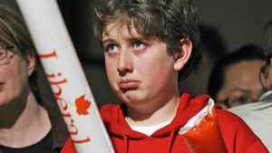 A Liberal supporter reacts early results roll in at Michael Ignatieff's Toronto election headquarters on May 2, 2011.