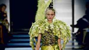 A model walks in the Armani Prive show at Paris Couture 2012.