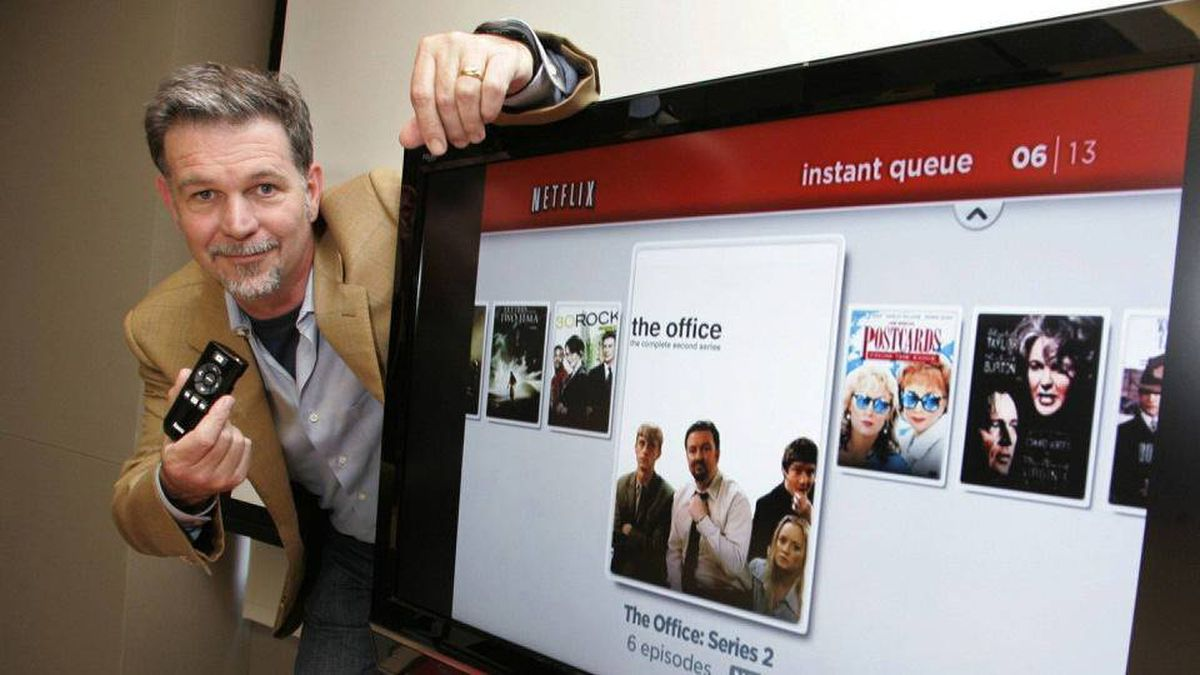 Netflix CEO Reed Hastings shows off their new set top box at Netflix headquarters in Los Gatos, Calif., Friday, May 16, 2008.