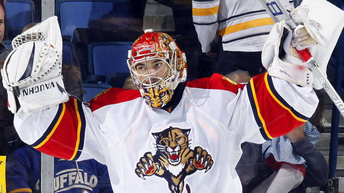 Jose Theodore #60 of the Florida Panthers celebrates their win over the Buffalo Sabres during their NHL game at First Niagara Center October 29, 2011 in Buffalo, New York. The Panthers won 3-2. (Photo by Dave Sandford/Getty Images)