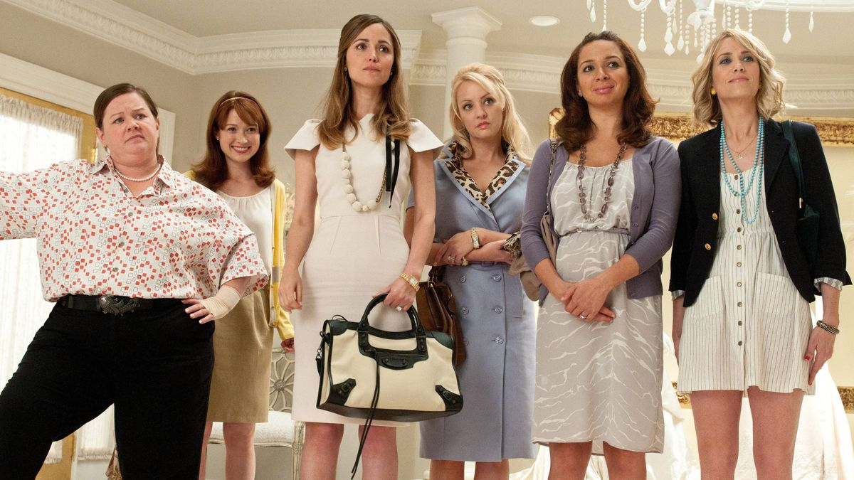 Melissa McCarthy, Ellie Kemper, Rose Byrne, Wendi McLendon-Covey, Maya Rudolph and Kristen Wiig are shown in a scene from Bridesmaids.