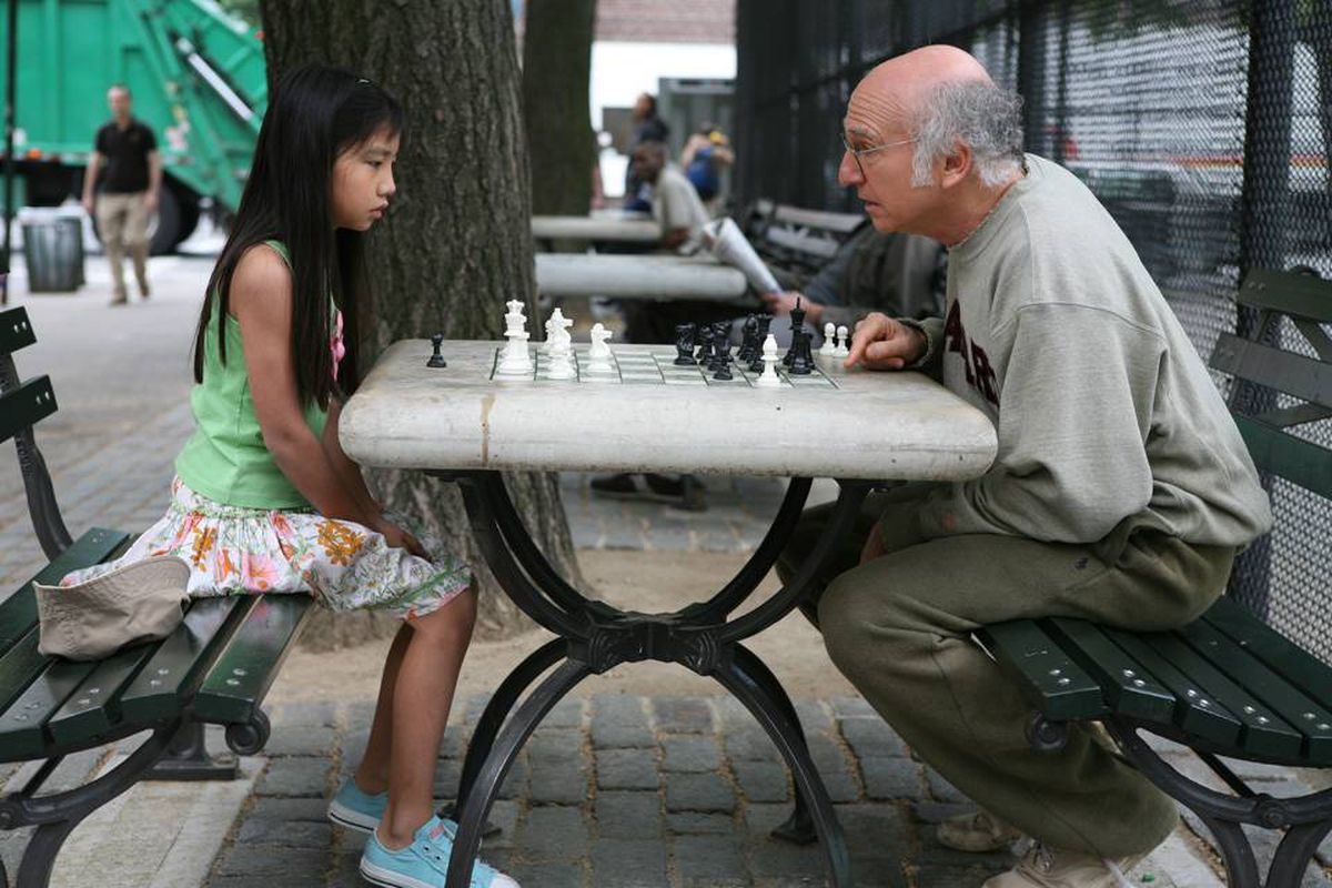 In Woody Allen's latest film, Larry David plays Boris, an aging, neurotic misanthrope who builds himself up by insulting others – even the kids he teaches to play chess.