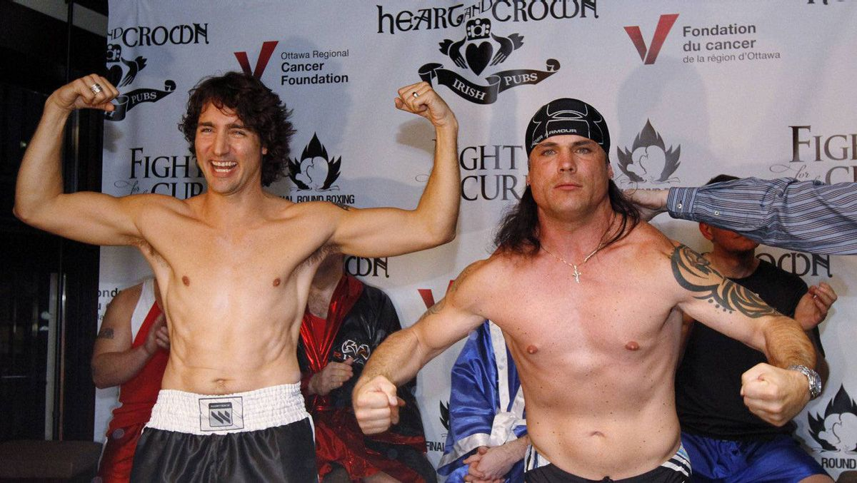 Conservative Senator Patrick Brazeau, right, and Liberal MP Justin Trudeau take part in a weigh-in for a upcoming boxing match Wednesday March 28, 2012, in Ottawa. The pair will meet this Saturday night where they will to go three rounds in a charity boxing match for cancer research.
