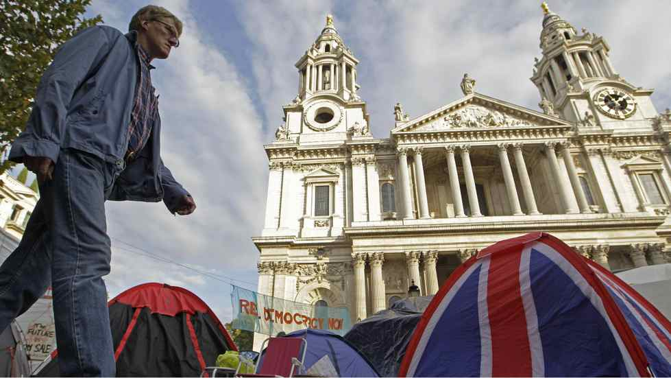 The Occupy London camp area outside St. Paul's Cathedral in London. The rich are rushing to show their solidarity with the Occupy movement by scuttling as quickly as possible away from the other rich.