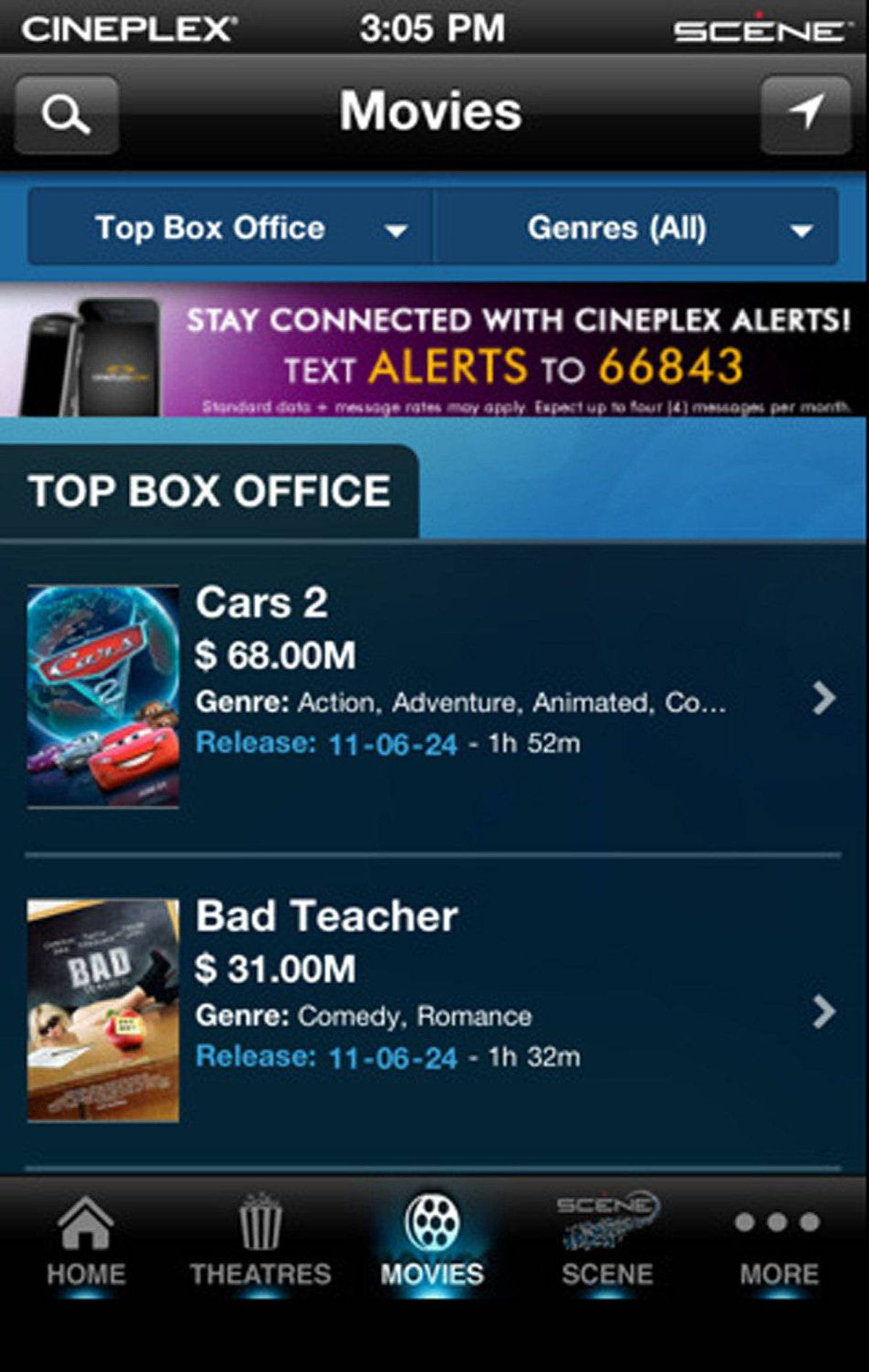 Cineplex Feel like catching a movie? The free Cineplex app has all the information you need. Search by theatre, movie, or actor to get movie showtimes for every Cineplex theatre in Canada. Cineplex helps you find the nearest theatre, with maps, phone numbers, and admission prices. If you're not sure what to watch, you can view movie trailers and read the latest entertainment news right in the app. When you're ready, buy tickets. This one has everything but the popcorn. (free, cineplex.com)