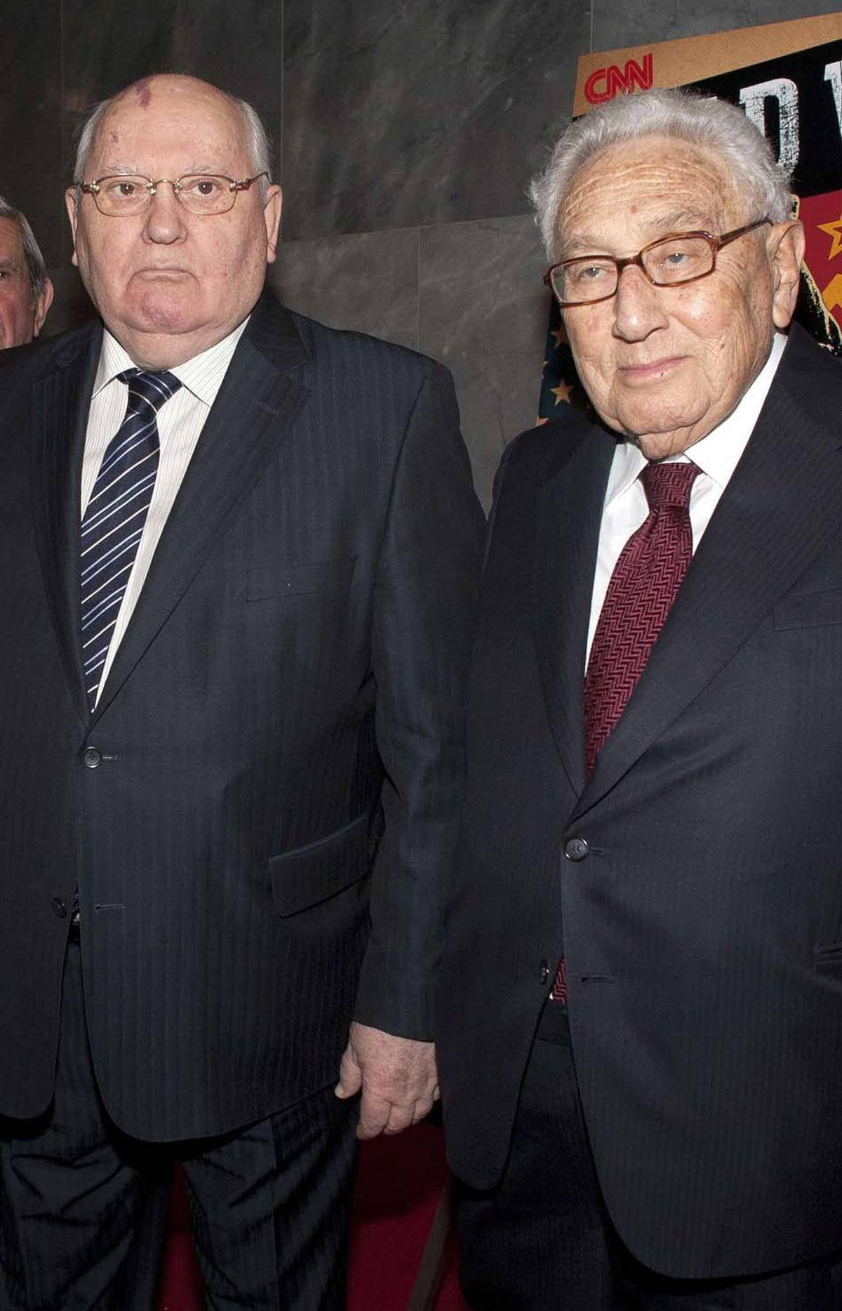 And here is a bilateral cold shower for you all, in the form of Soviet Union President Mikhail Sergeyevich Gorbachev (left) and former U.S. Secretary of State Dr. Henry Kissinger at the screening of a documentary about the Cold War in New York last week. All good now?