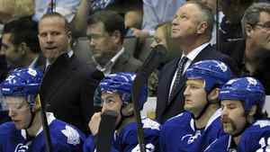 Coach Randy Carlyle looks on in dismay as his team's playoff hopes are on the brink of being officially squashed.