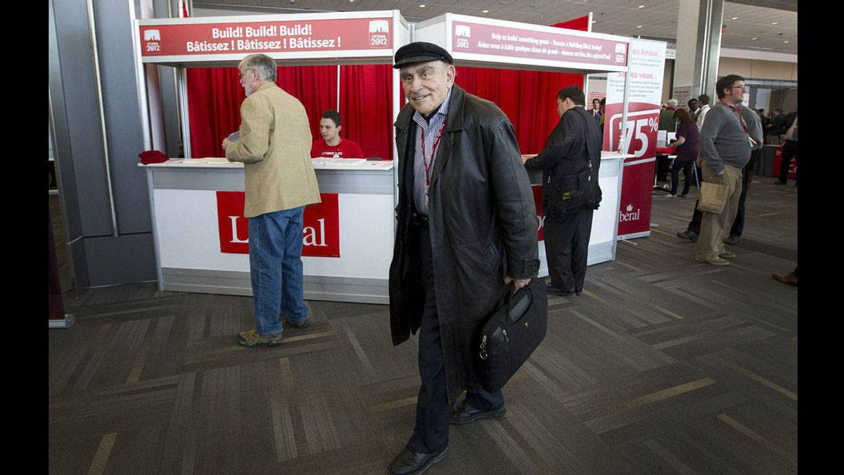 Peter C. Newman, whose suggested a gloomy future for the Liberal party in his recent book, attends the second day of the Liberal Convention in Ottawa.
