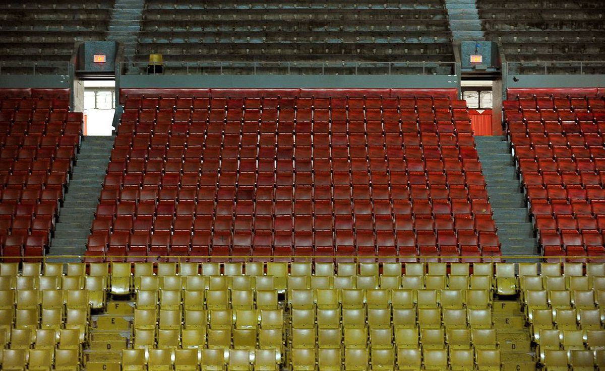 Rows of empty seats at Maple Leaf Gardens.