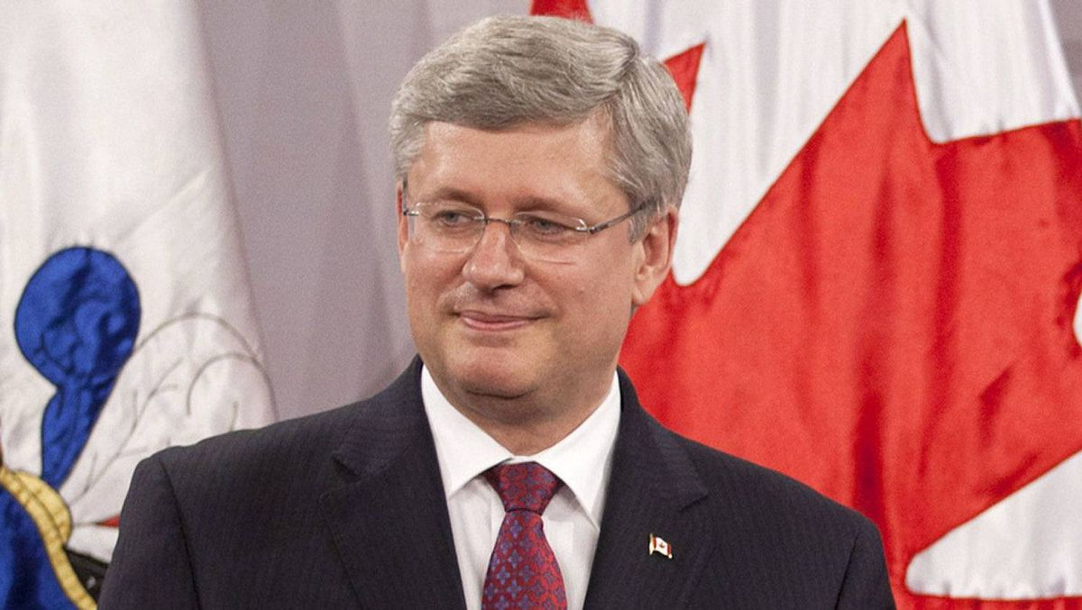 Prime Minister Stephen Harper attends a news conference at the Presidential palace in Santiago, Chile on April 16, 2012.
