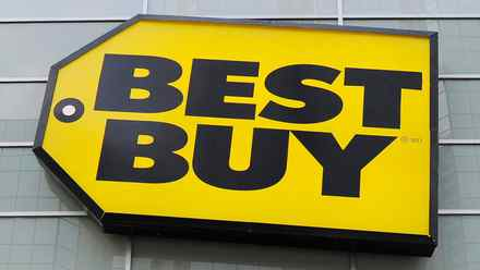 Best Buy logo is seen at a Best Buy store in Toronto in this April 19, 2011 file photo. Best Buy Co Inc. founder Richard Schulze said on Thursday he is exploring all options for his 20.1 percent stake in the electronics retailer, leading him to immediately relinquish his roles as chairman and a director.
