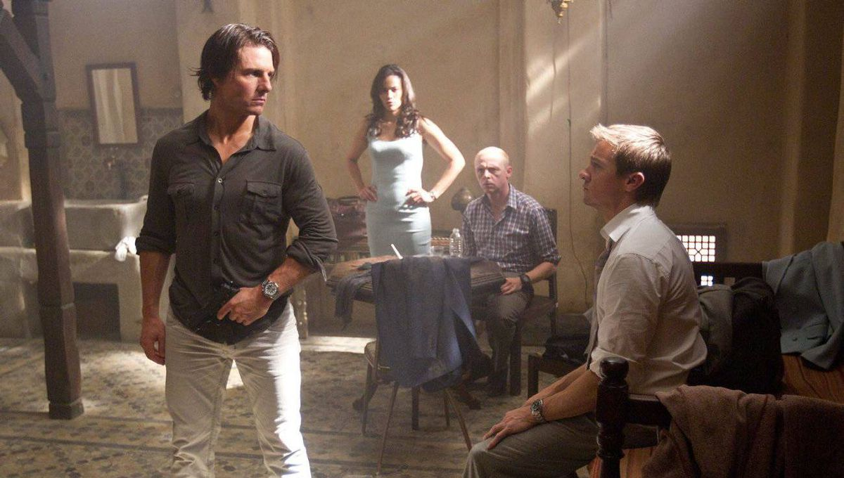 "Tom Cruise, Paula Patton, Simon Pegg and Jeremy Renner are shown in a scene from ""Mission: Impossible - Ghost Protocol."""