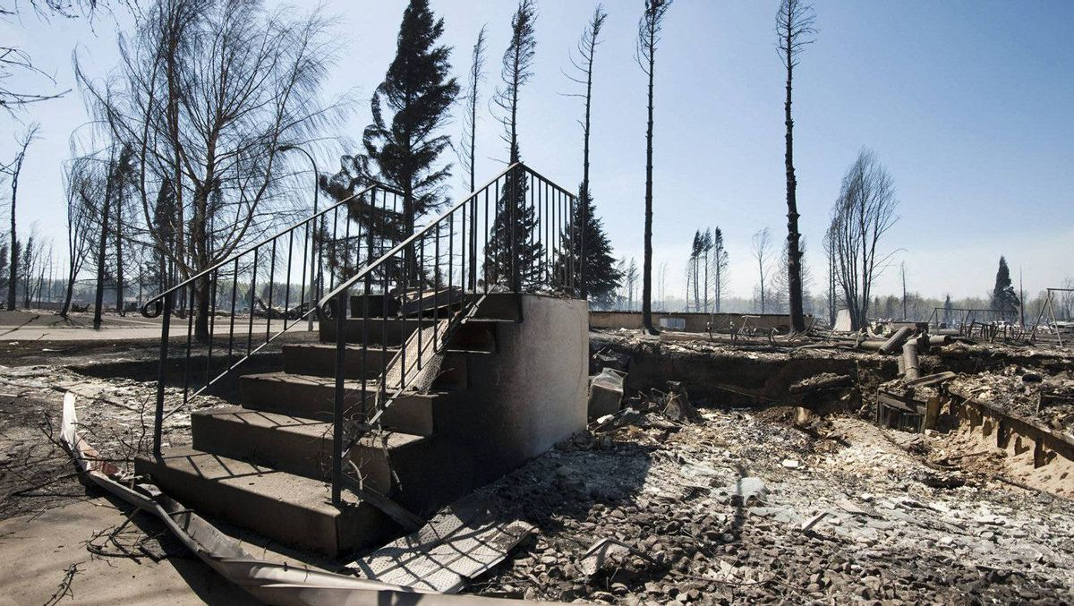 All that remains of a house in Slave Lake, Alberta, on Monday, May 16, 2011 is a set of steps.