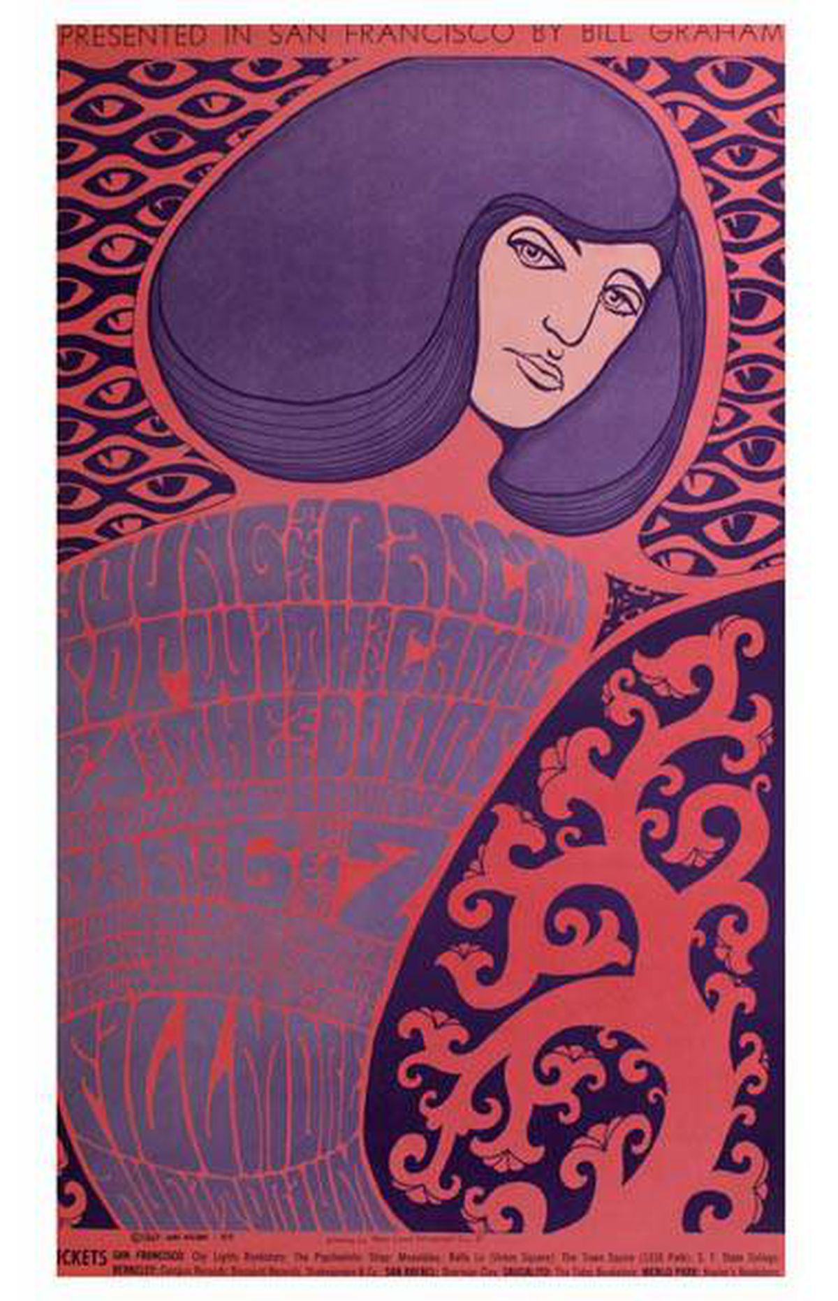 Poster for a Doors show at San Francisco's legendary Fillmore Auditorium January 6-8, 1967 by artist Wes Wilson. Part of a collection of rare and valuable posters gifted to the AGO, photographed on February 18, 2011.