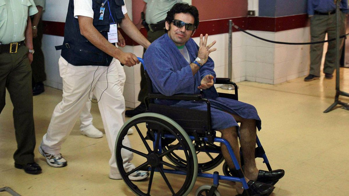 Miner Jimmy Sanchez inside a hospital in Copiapo, Chile, after he emerged from the San Jose mine on Oct. 13.