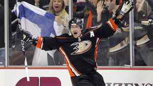 Anaheim Ducks right wing Teemu Selanne of Finalnd celebrates his second goal of the game during the third period of their NHL hockey game against the Los Angeles Kings, Friday, April 8, 2011, in Anaheim, Calif. The Ducks won 2-1.