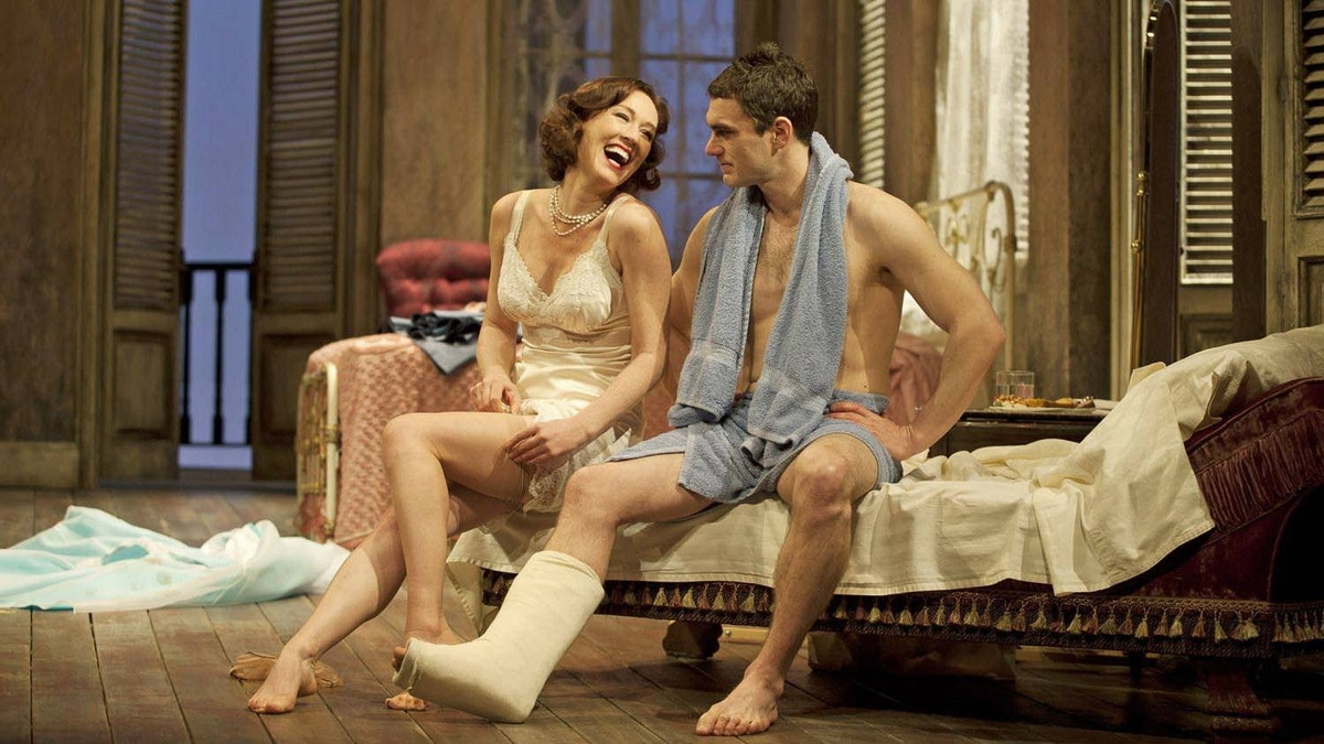 Moya O'Connell and Gray Powell in the Shaw production of Cat on a Hot Tin Roof.