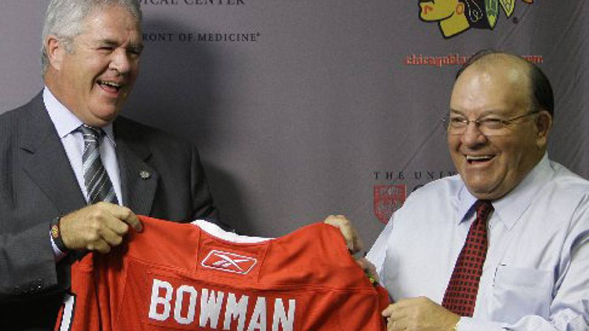 ven-time Stanley Cup champion Scotty Bowman, right, is joined by Chicago Blackhawks general manager Dale Tallon, left, as Bowman is introduced as the new senior advisor for hockey operations for the Blackhawks on Thursday, July 31, 2008. (AP Photo/M. Spencer Green)