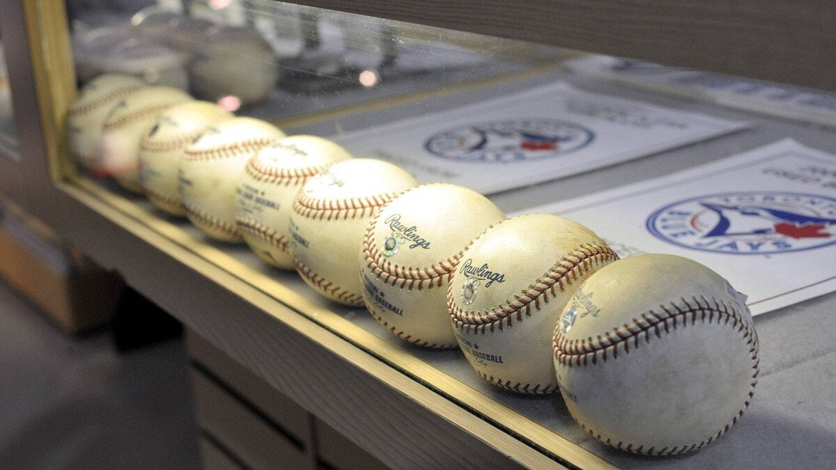 A display case at the new Memorabilia Clubhouse on the 100 level of the Rogers Centre, during a Blue Jays game in Toronto, April 27 , 2012.